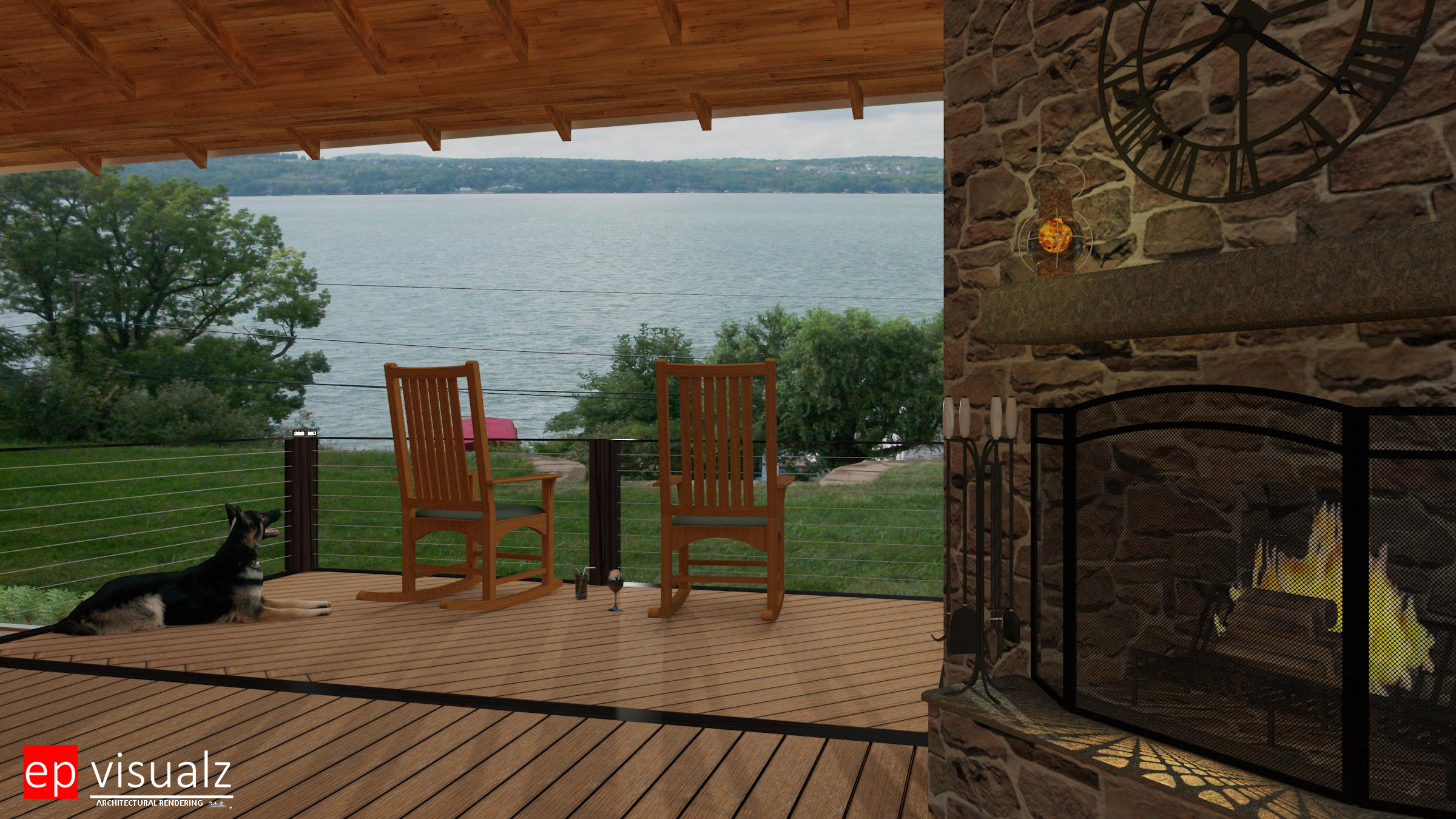 Silverman-Deck, Fireplace & lake view