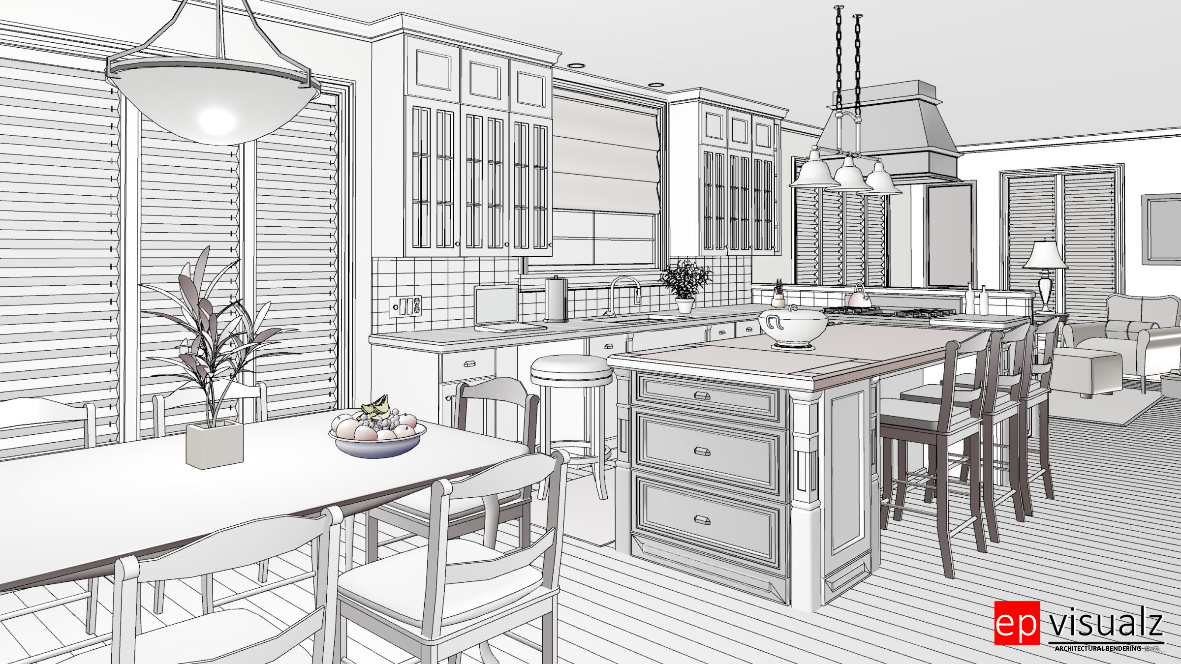Duotone Rendering, Glass House Rendering, Line Rendering,Photorealistic Ray-Trace Rendering, Standard Rendering, Technical Rendering, Vector Rendering, Watercolor Rendering, Watercolor-Line Rendering