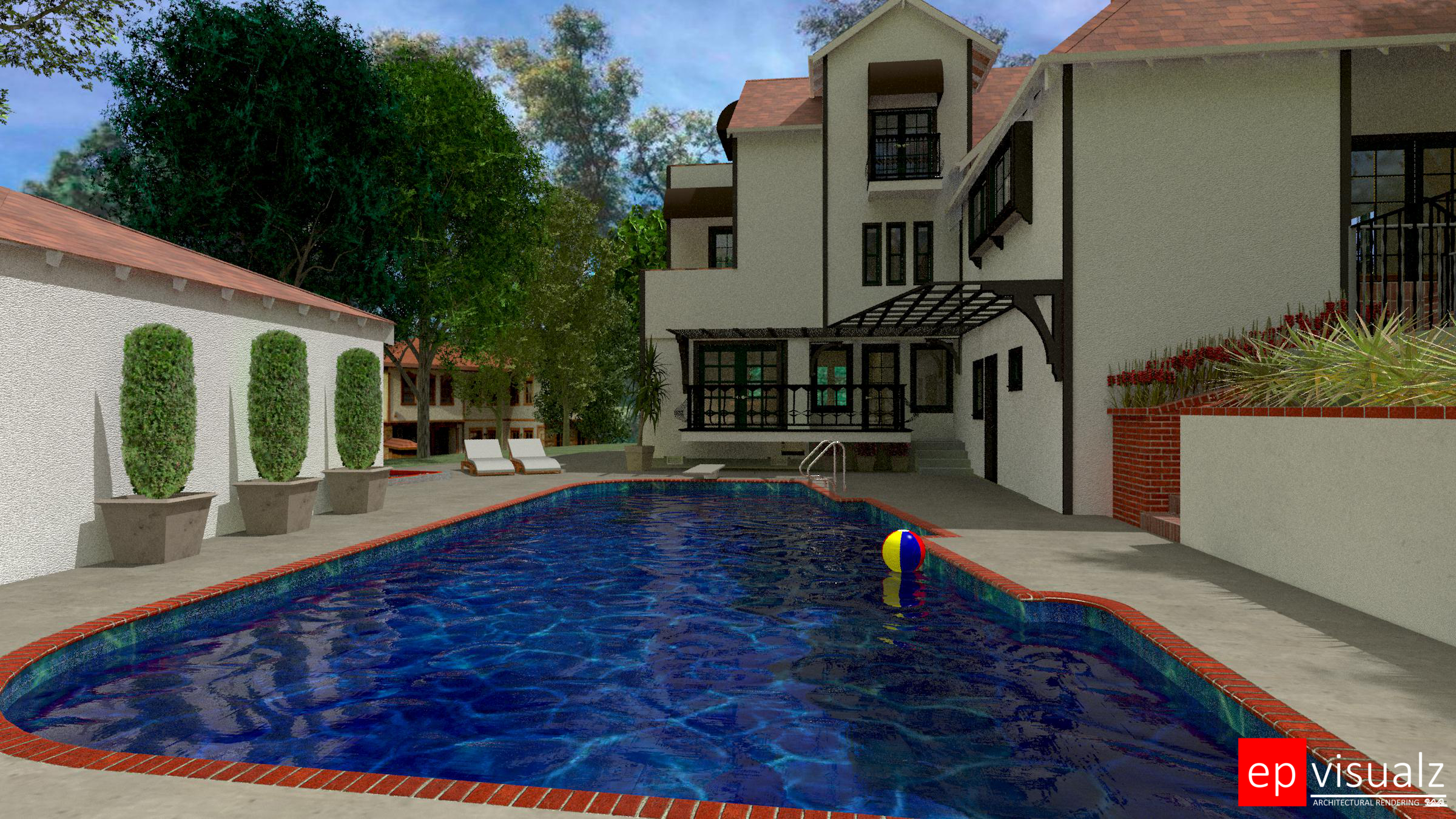 4000 Woking Way-SW Pool Area ground level view-rev neighboorhood