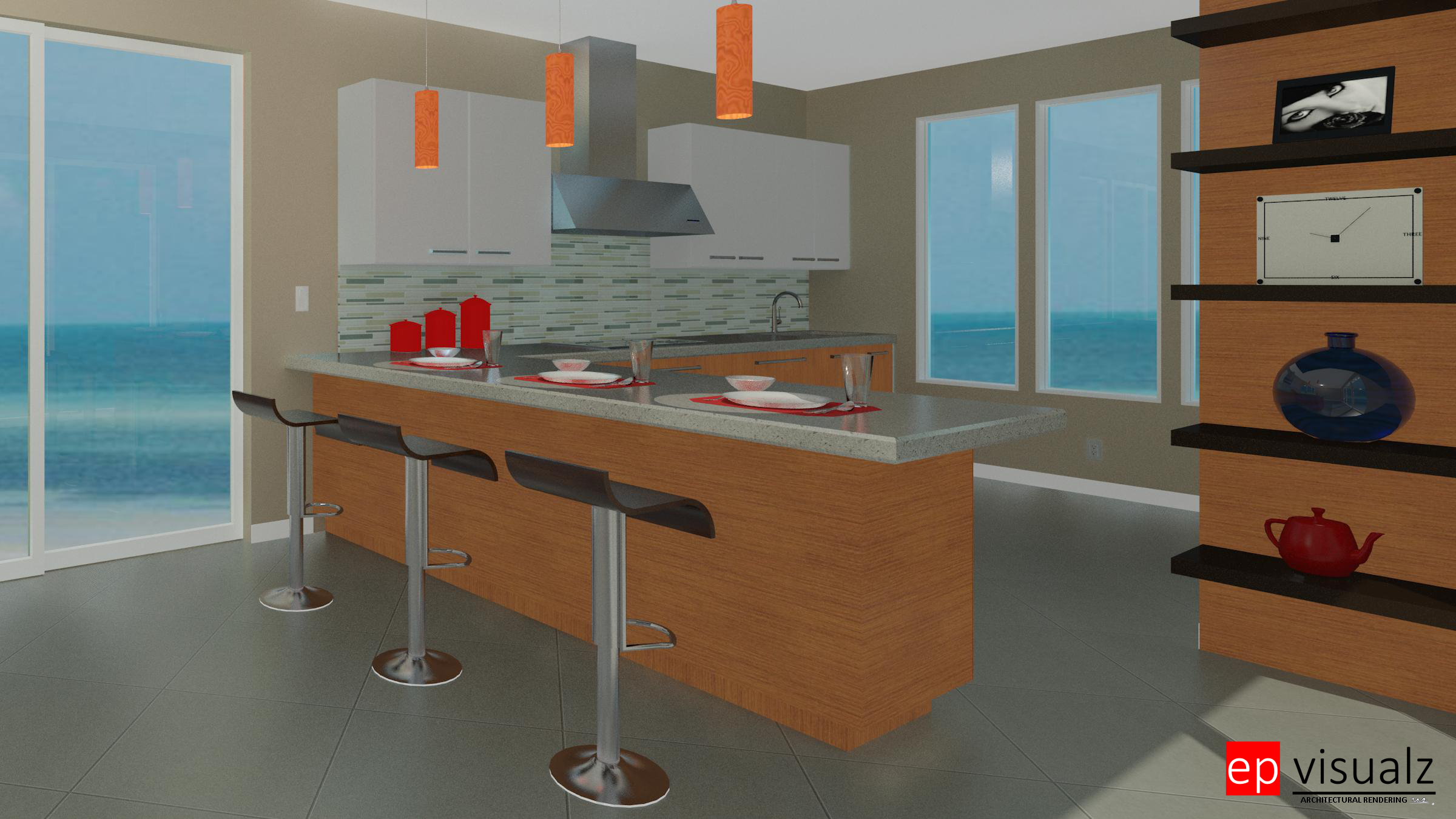 Kitchen-Modern Beach House-RT